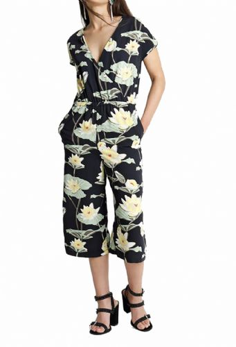 WATERLILLY PRINT CROP CULOTTES JUMPSUIT NEW SIZE 8, 10, 12, 14